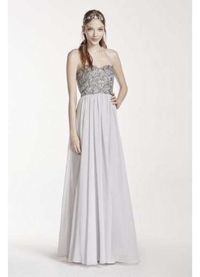 Strapless Geometric Beaded Prom Dress | David\'s Bridal