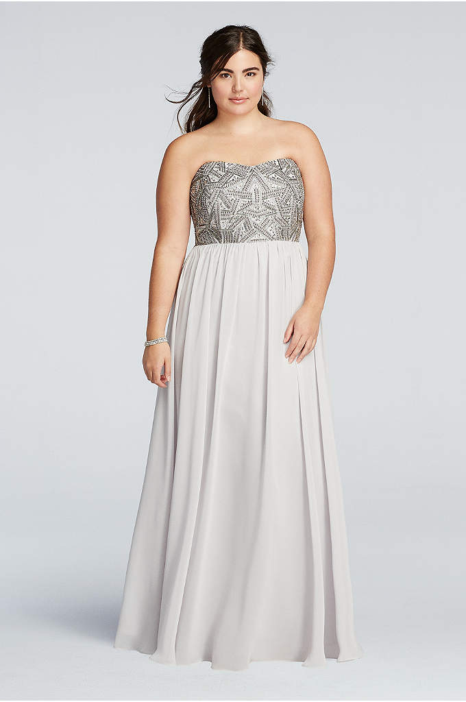 Strapless Geometric Beaded Prom Dress