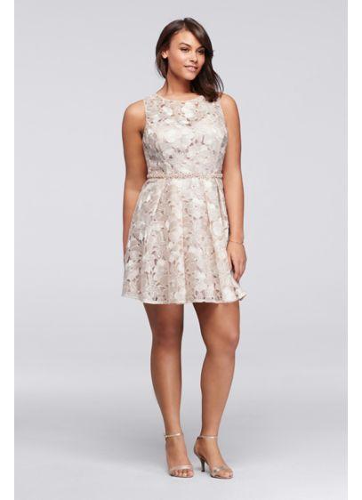 Short Pleated Plus Size Floral Lace Dress Davids Bridal