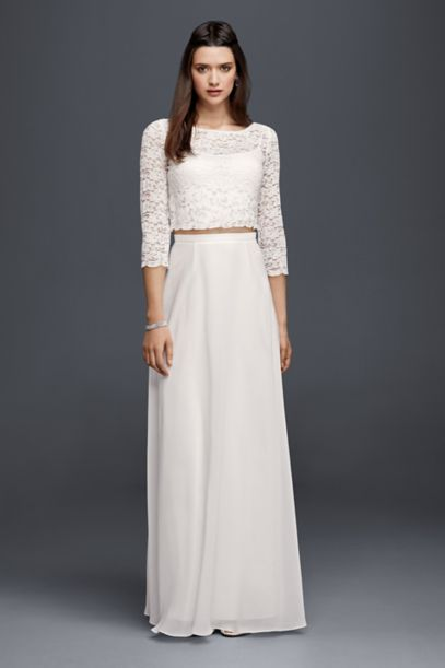 Lace Wedding Crop Top With 3 4 Length Sleeves David S Bridal