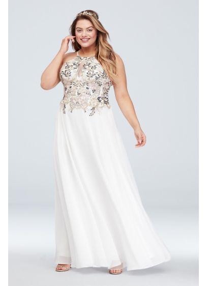 Floral Plus Size Gown with Keyhole Chiffon Skirt