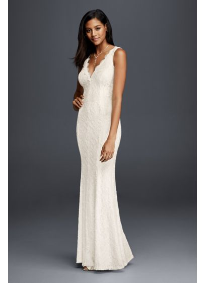 d9359a7127 Allover Lace V-Neck Sheath Wedding Dress | David's Bridal