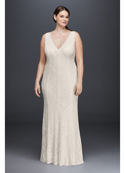 Allover Lace V-Neck Plus Size Sheath Wedding Dress - Wearing a classic sheath lace wedding dress means