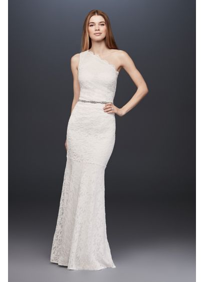 3337efa580ce6 Scalloped One-Shoulder Lace Sheath Gown | David's Bridal
