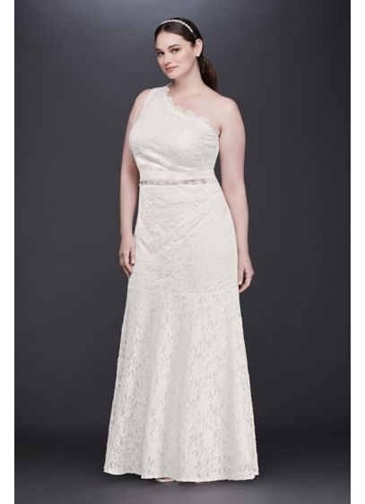 a5c6138173ed Scalloped One-Shoulder Lace Plus Size Gown