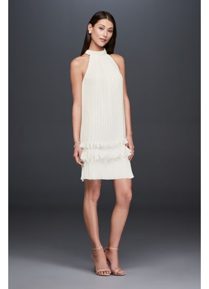 High-Neck Pleated Chiffon Shift Dress with Ruffles - Ready to go a little retro? This high