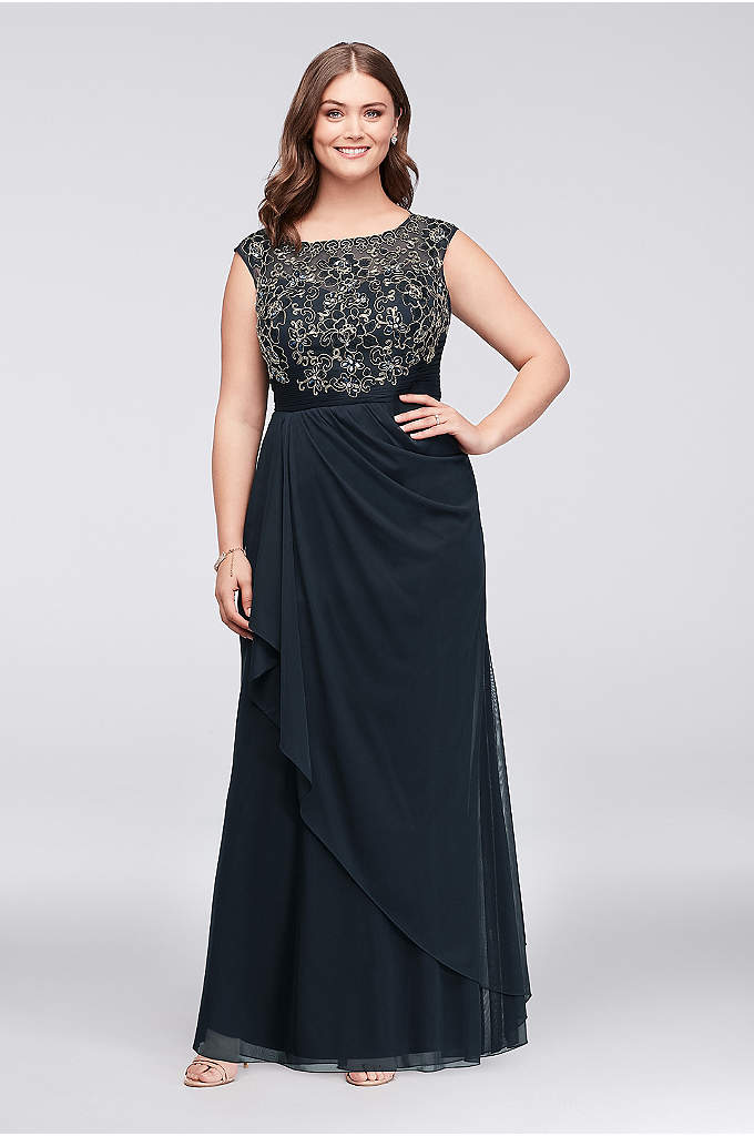 Gold-Edge Lace and Mesh Plus Size Sheath Gown - Gorgeous details abound this embroidered and mesh gown,