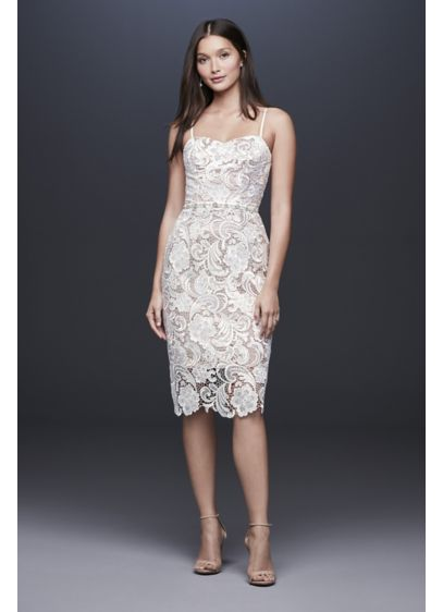 Paisley Lace Illusion Sheath Dress with Sheer Hem - Graphic paisley lace turns the sheath shape into