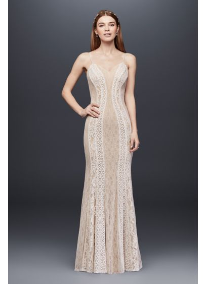 7a53d0d8d68 Mixed Lace Sheath Gown with Spaghetti Straps | David's Bridal