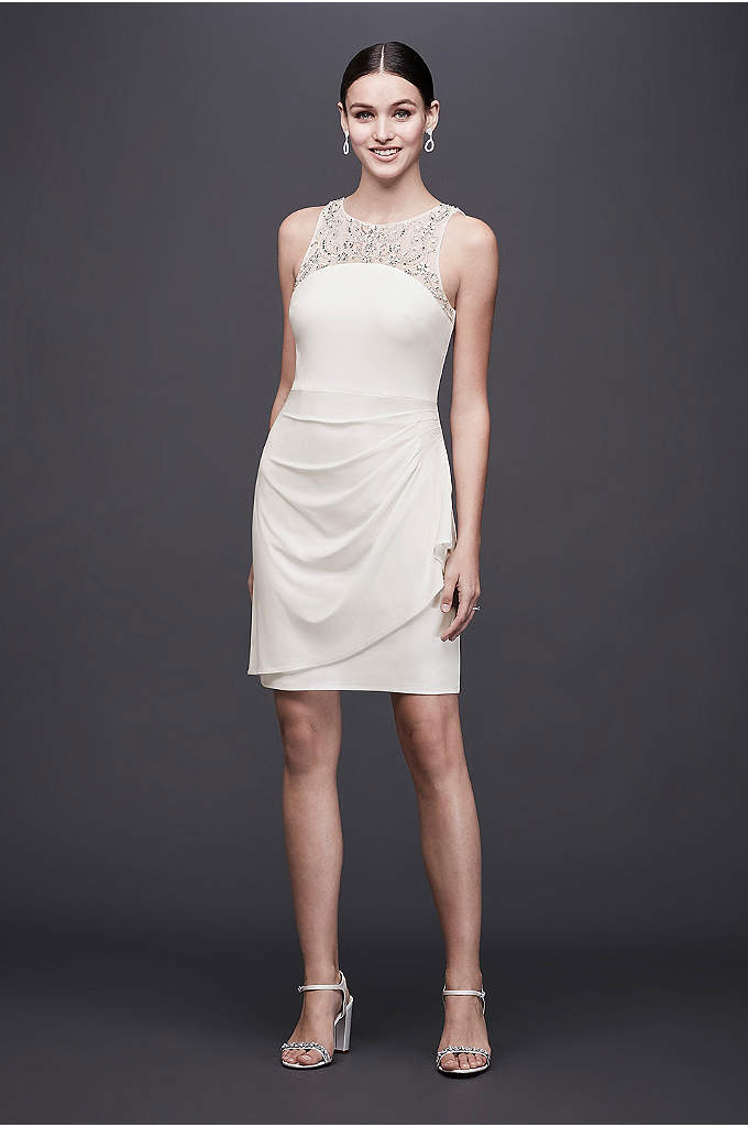 Ruched Jersey Short Dress with Beaded Neckline - This figure-flattering, ruched jersey mini dress, with beaded