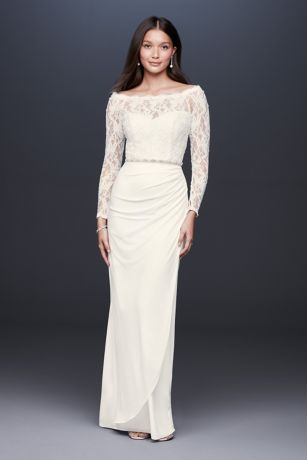 Off-the-Shoulder Long Sleeve Lace Draped Gown | David's Bridal | Tuggl