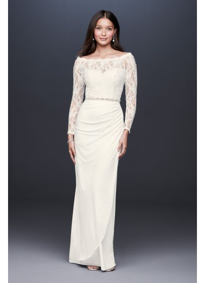 Off-the-Shoulder Long Sleeve Lace Draped Gown - Figure flattering and classic, this draped jersey sheath