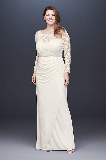 Off-the-Shoulder Long Sleeve Lace Plus Size Gown