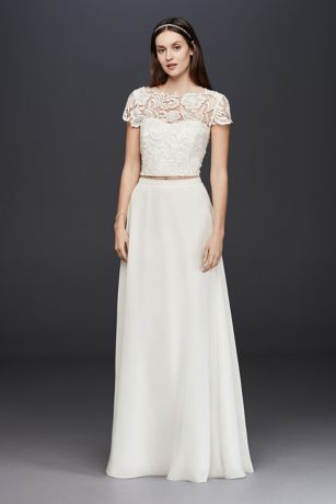 Lace Cap Sleeve Crop Top | David\'s Bridal