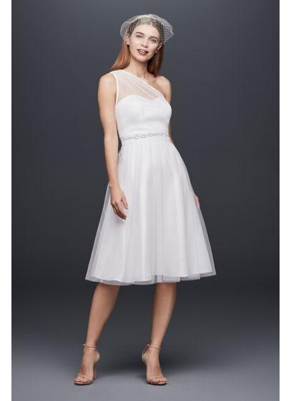 One shoulder short tulle fit and flare dress davids bridal short a line casual wedding dress db studio junglespirit Gallery