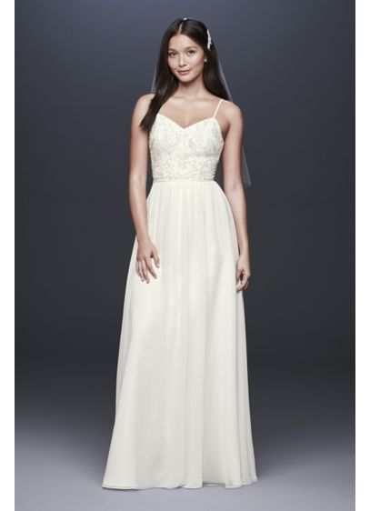 Beaded Ballerina Bodice Soft Chiffon Sheath Dress - The perfect combination of ease and glamour, this