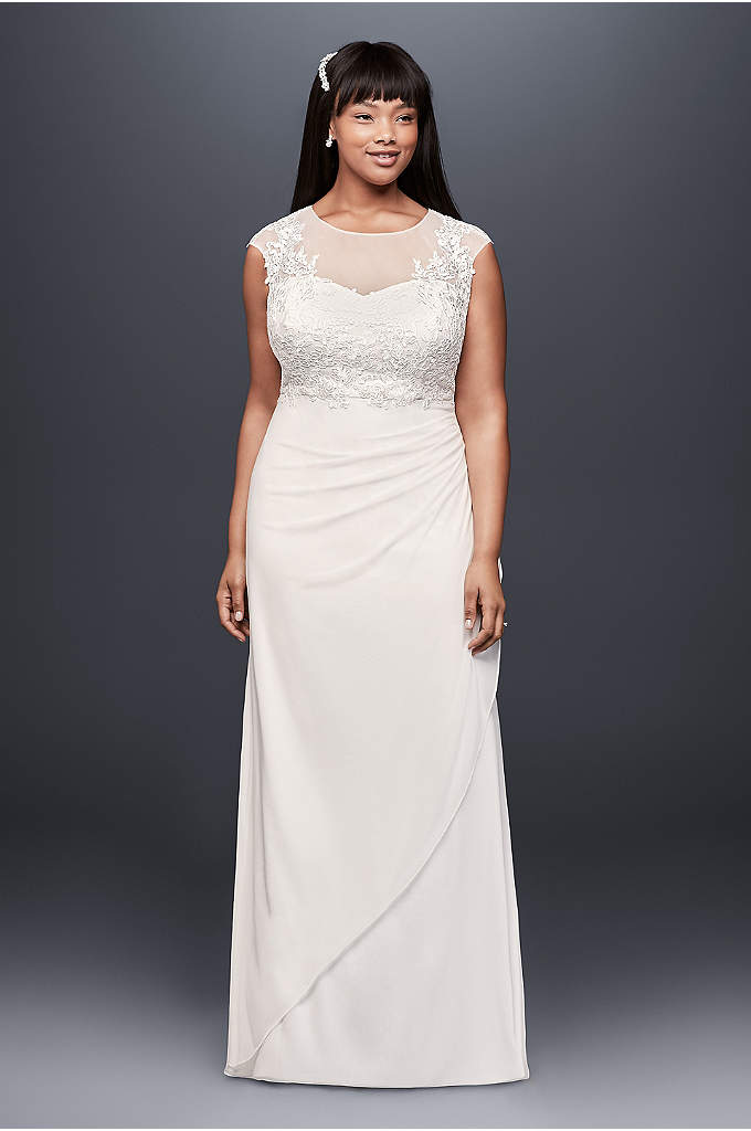Lace Applique Illusion Mesh Plus Size Sheath Dress - Floral lace appliques bloom on the illusion bodice,