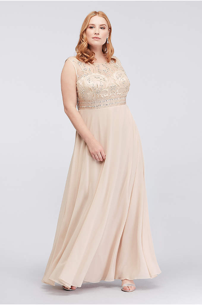 Beaded Plus Size Chiffon Dress with Illusion Mesh - Show off your glamorous side in this plus-size