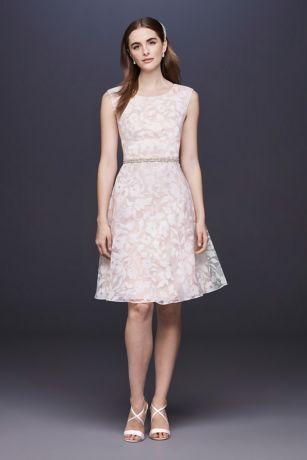 Burnout Short Wedding Dress with Cap Sleeves
