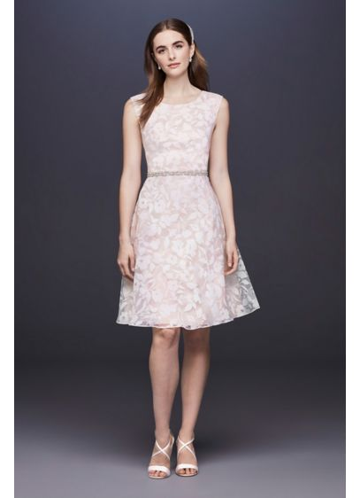 Burnout Short Wedding Dress with Cap Sleeves - The timeless A-line silhouette and pleated scoopneck give
