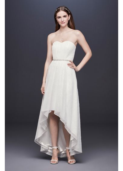 e294c3b38e08 Shimmering High-Low Dress with Beaded Waist | David's Bridal