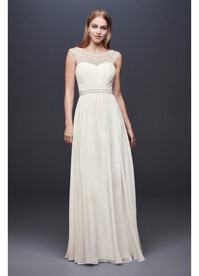 fd877ef642092 Beaded Sheath Wedding Dress with Illusion Mesh | David's Bridal