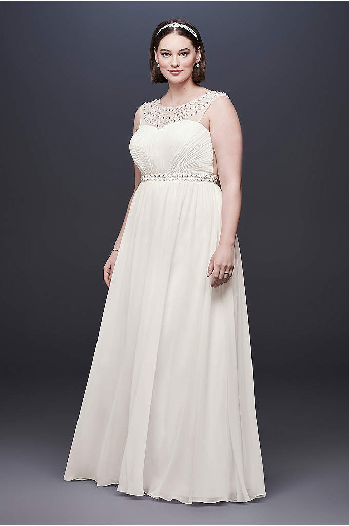Beaded Plus Size Wedding Dress with Illusion Mesh