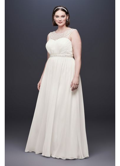 Beaded Plus Size Wedding Dress with Illusion Mesh | David\'s Bridal
