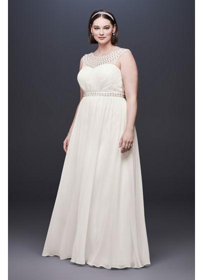 2a463454b00e Beaded Plus Size Wedding Dress with Illusion Mesh. 184645DBW. Long Sheath  Casual Wedding Dress - DB Studio