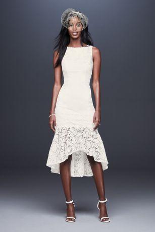 8a230b4565583 Short Crepe Dress with Asymmetric Lace Flounce   David's Bridal