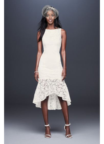 Short Crepe Dress with Asymmetric Lace Flounce - This sleeveless stretch crepe sheath dress has a