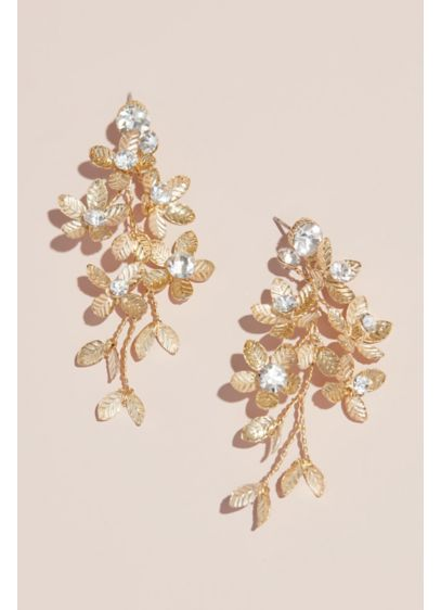 Floral Spray Earrings with Crystals - Wedding Accessories