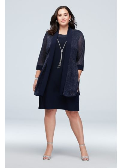 Textured Glitter Plus Size Dress with Necklace - This textured glitter jacket and matching tank dress