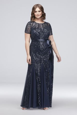 Short Sleeve Sequined Illusion Plus Size Gown David S Bridal