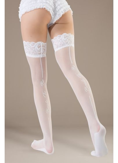 Coquette Bride to Be Thigh Highs - Trimmed in grippy lace, this pair of semi-sheer