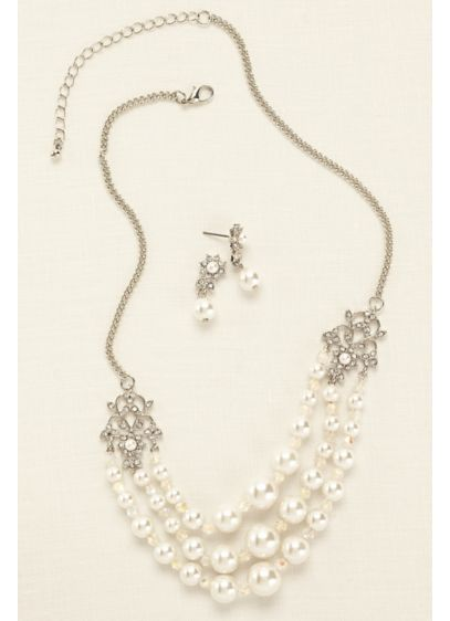 David's Bridal Ivory (Scroll Pearl Crystal Set)