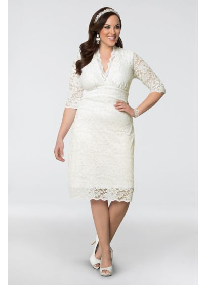 Luxe Lace Plus Size Short Wedding Dress | David\'s Bridal