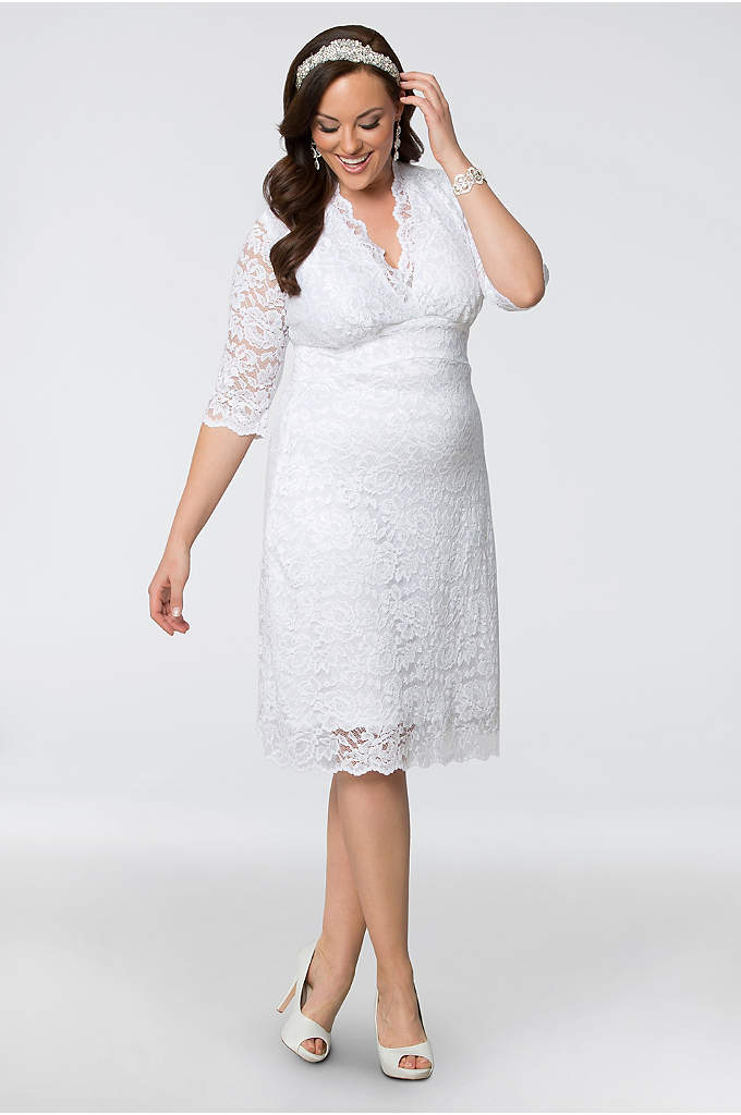 Luxe Lace Plus Size Short Wedding Dress - This stretch-lace sheath is everything you want in