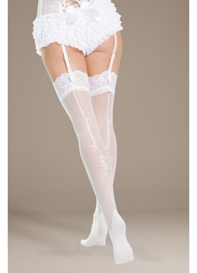 Coquette Happy Anniversary Thigh Highs - This pair of Cuban-heeled thigh highs is trimmed