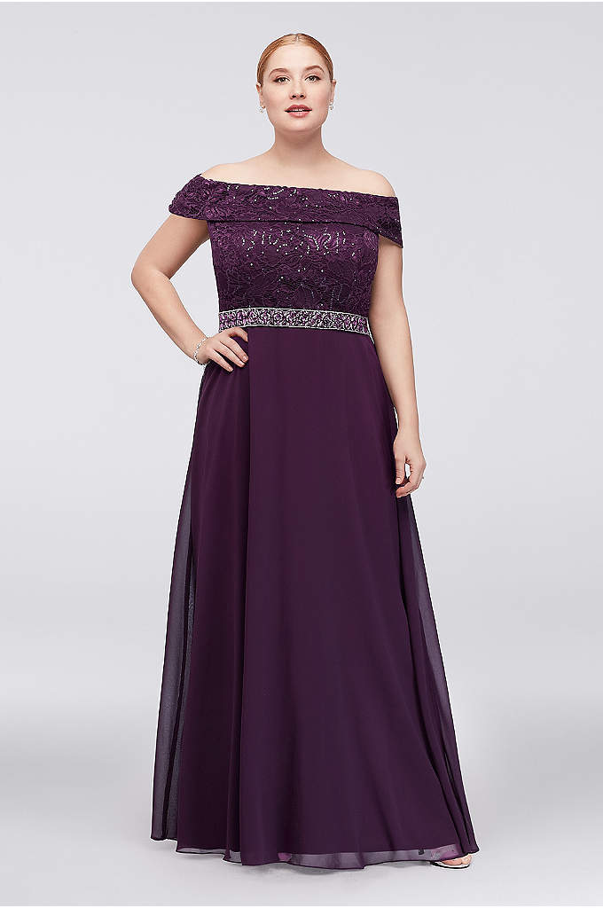 Off-the-Shoulder Lace Chiffon Plus Size Gown - An off-the-shoulder neckline and pretty waistline beading set