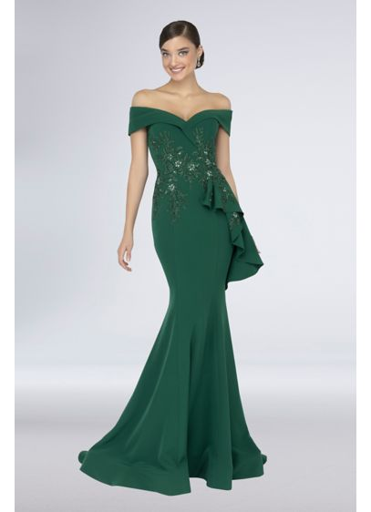 Long Mermaid/Trumpet Off the Shoulder Formal Dresses Dress - Terani Couture
