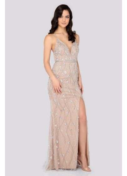 Beaded Plunging V-Neck Sheath Dress with Slit - Featuring a plunging V-neck with an illusion panel
