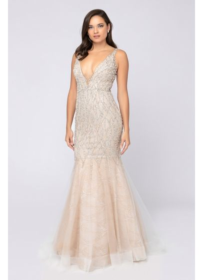 Beaded Plunging V-Neck Illusion Back Mermaid Dress - Channel an Old Hollywood vibe in this glamorous
