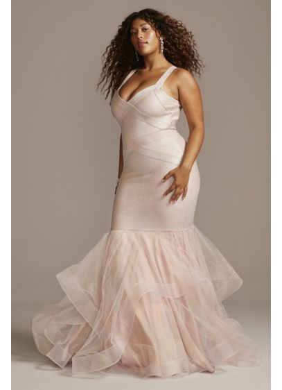 Bandage Mermaid Plus Size Trumpet Gown with Trim - Bring on the drama in this statement-making, plus-size