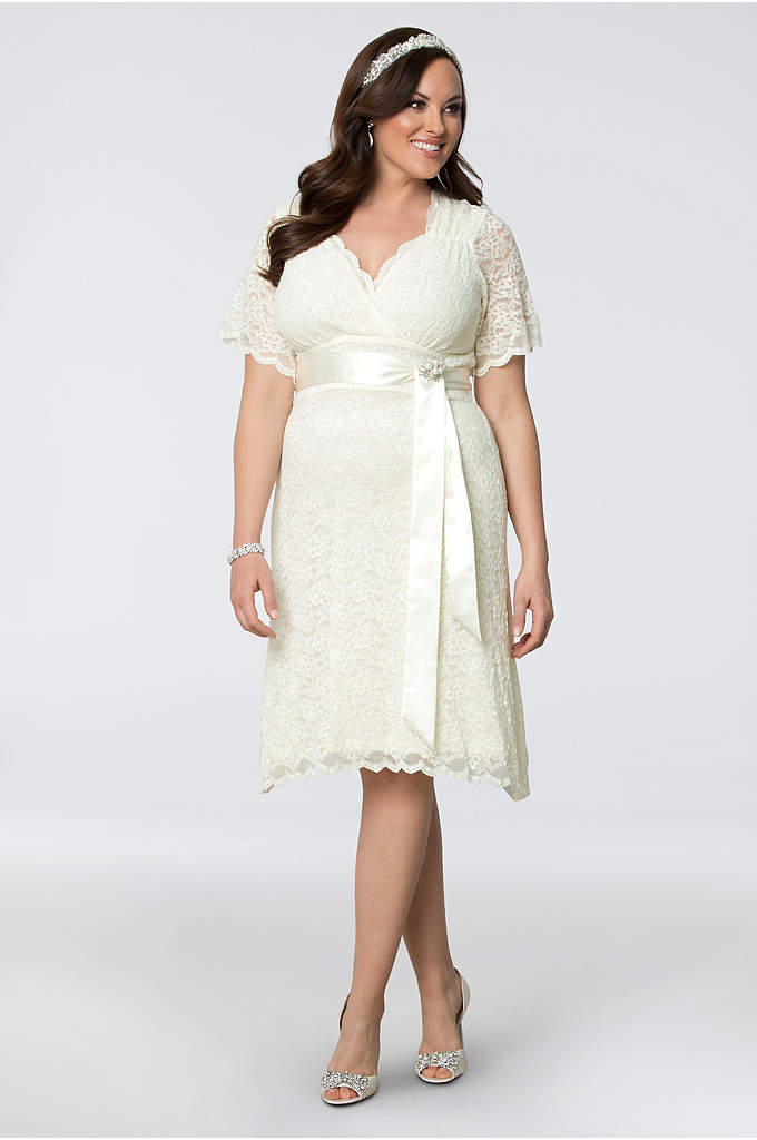 Lace Confections Plus Size Short Wedding Dress - Scalloped lace and a crystal- and pearl-encrusted satin
