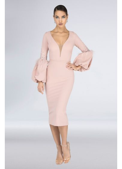 Feather Balloon Sleeve Stretch Crepe Short Dress - If the illusion plunge neckline and balloon sleeves