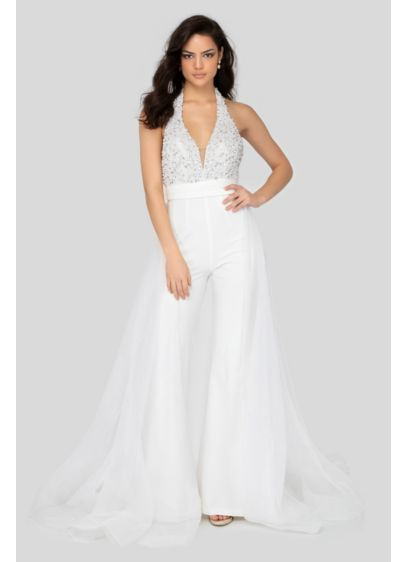 Embellished Crepe Halter Jumpsuit with Overskirt - Embellished with sparkly beads and rhinestones, this stretch