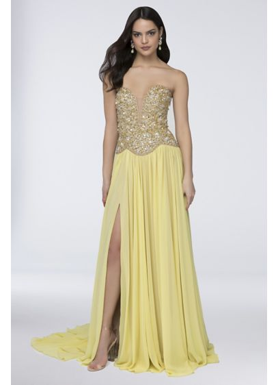 Chiffon Strapless Dress with Sequins and Beading - A plunging neckline and a dramatic slit give