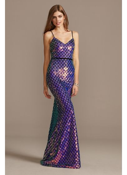 Iridescent Flip Sequin Cross Hatch Gown - This slinky spaghetti strap gown gets a modern