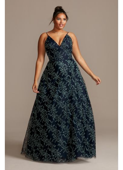 Deep-V Back Plus Size Gown with Embellished Leaves - Intricate caviar beads and glitter form trails of